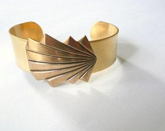 Gold cuff Art Deco bracelet cuff Big gold bracelet Geometric cuff Earring bracelet set available Art deco cuff bracelet Great Gatsby style