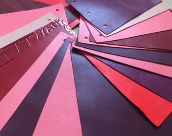 Leather Pieces Perfect for Crafts - Selection Red/Pink/Brown/Purple Colour Shades- 300g. - Offcuts