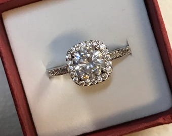 Lab Made Sterling Silver, Man-Made Diamond 2ct Engagement Ring, Wedding Ring, Promise Ring, Anniversary, Gift, Mother's day, 18kgp