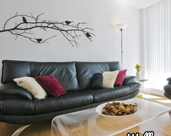 Winter Branch With Birds Wall Sticker tree wall decal