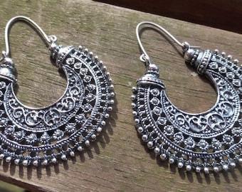 Antiguos pendientes tribales de plata con oreja titanio hipoalergénico hecho a mano hilos - gitana - étnico - Hippy - Boho - declaración Tribal pendientes