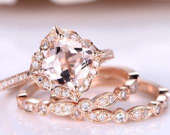 Morganite Ring Set 7mm Cushion Morganite Engagement Ring Art Deco Diamond Wedding Band Half Eternity Ring Retro Vintage Floral 14K Rose Gold
