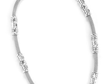 Lovely Links of Silver Necklace Encrusted With Swarovski Crystals