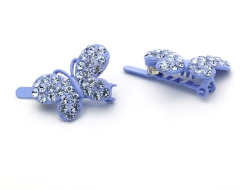 Hand Made Hair Jewelry Butterfly Magnet Barrette, Blue Rhinestone(SO7599-bl)