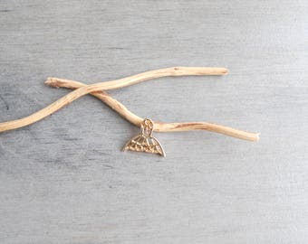 origami whale tail pendant gold