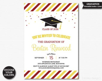 Graduation Invitation Printable Choose Your Colors Graduation Party Graduation Dinner Graduation Celebration Class of 2016 Digital