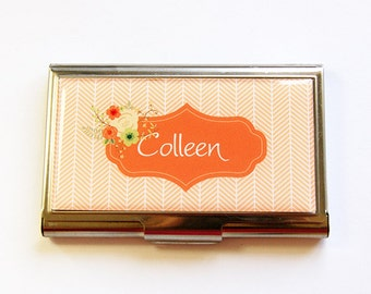 Personalized Business Card Case, card case, Custom Case, Personalized, business card holder, personalized gift, Herringbone, orange (4346)