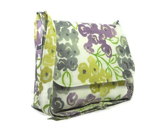 Floral Messenger Bag for Women, Medium Cross Body Bag, Cotton Crossbody Purse, Fabric Purse, Shoulder Bag, Fabric Pocketbook, Handbag
