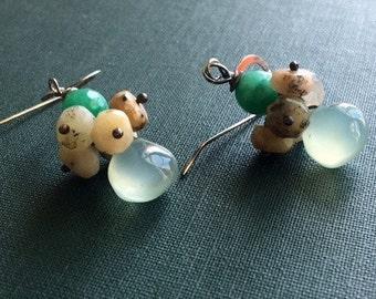Gemstone Earrings, Chalcedony and Opal Earrings, Bohemian Earrings, Cluster Earrings, Dangle earrings, Statement Earrings