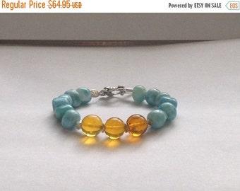 ON SALE Larimar Jewelry Larimar and Dominican Amber bracelet