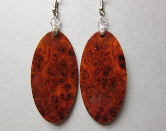 Beautiful Moms Redwood Burl Exotic Wood Earrings repurposed ecofriendly Handcrafted lightweight