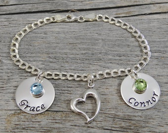 Hand Stamped Jewelry - Personalized Jewelry - Mom Bracelet - Sterling Silver Charm Bracelet - Two charms - Two Names Two Birthstones - Heart