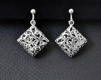 Clip On Earrings Screw Back Clip Earrings, Non Pierced Earrings, Silver Clip Earrings, Clip On Earrings, Silver Filigree Earrings