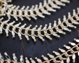 14mm Gold Fishbone Chain, Fancy Gold Chain