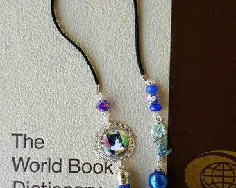 Blue bookmark I Love my Cat bookmark Cat Lover bookmark Cat Beaded Bookmark Tassle bookmark Book accessories Book lover Gift under 20