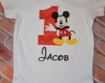 Embroidered Boys Mickey Mouse Birthday shirt/Boys First Birthday shirt/Oh Twodoles Birthday Shirt/Standing Mickey birthday shirt