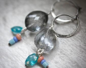 Tourmaline Quartz Earrings with Apatite and Handmade Glass Dangles, Hoop Earring, Dangle Gemstone and Silver Earrings