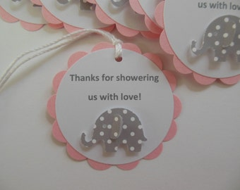 Elephant Party Favor Tags - Thanks for showering us with love - Gray Polka Dots, Pink and White - Girl Birthday Party - Girl Baby Shower
