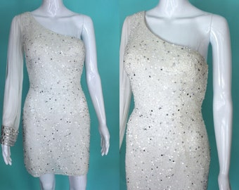 90's Party Dress    90's White Beaded And Sequined Mini Party Dress With One Split Sleeve