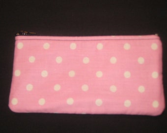 White Polka Dots on Pink Pencil Case / Zipper Pouch, Coin Purse, or  Wristlet #15