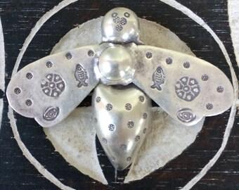 Fine silver 980  Honey  Bee pendant