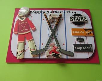 Hockey Father's Day Card, 3D trink, skates, sticks