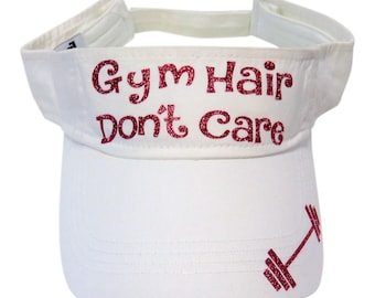 "NEW! Fuchsia Glitter ""Gym Hair Don't Care"" White Cotton Visor Fitness"