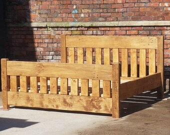 Rustic Style Chunky Bed Bespoke Solid Wood Hand Built Reclaimed Timber