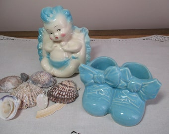 Sweet Vintage Blue Planter Pair for the Nursery Baby on a Pillow, Baby Shoes Boots