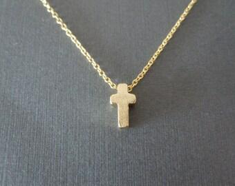 Gold Tiny Cross Necklace