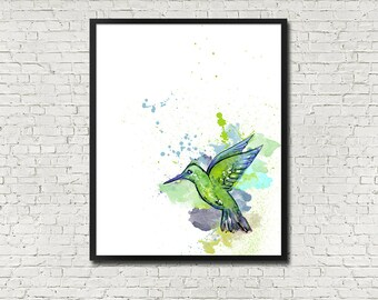 Humming Bird Watercolour Style Illustration INSTANT PRINTABLE DOWNLOAD Wall Art Digital Poster Print Modern Minimalist Simple Watercolor