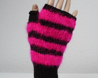 Hand knitted fingerless gloves with mohair