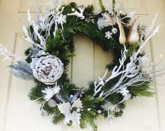 Angel Wings White & Silver Christmas Holiday Wreath by Denise's Creations