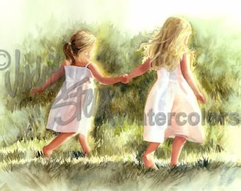 "Girl Friends Sisters Children, Run in Green Grass, Meadow, White Dress, Watercolor Painting Print, Wall Art, Home Decor, ""Free as a Bird"""
