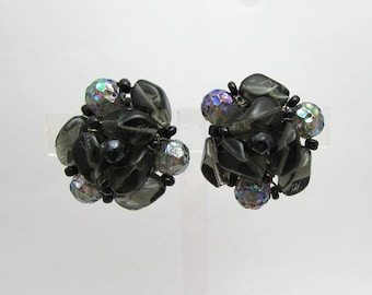West Germany Black Glass Cluster Earrings - Clips - AB glass beads - 1950s