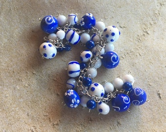 Blue and White Glass Lampwork Bracelet, Lampwork Bracelet, Beaded Bracelet, Beadwork Bracelet, Gift For Her
