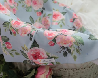 Gray Blue with English Roses Baby Blanket