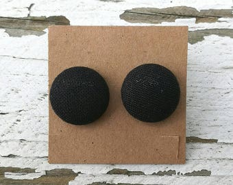 """Solid Black Fabric Covered Button Post Stud Earrings - 1 1/8"""""""