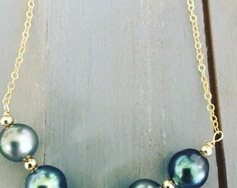 Very Popular Elegant Tahitian Pearl Necklace on 14K Gold Filled Chain