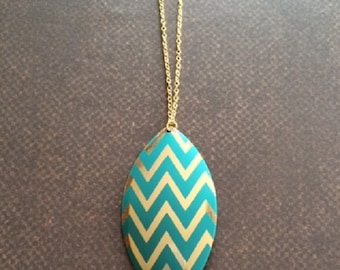 SALE - CLEARANCE - Chevron Necklace - Chevron Jewelry - Turquoise and Gold - Trendy Necklace - Turquoise Jewelry - Metal Necklace - Gift