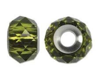 SWAROVKSI 5940 Be Charmed Briolette Bead - 14mm - Olivine/Steel
