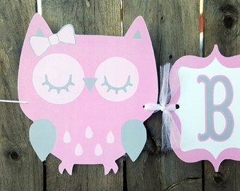 Owl Banner, Owl Baby Shower Banner, Owl Birthday Banner, Pink and Grey Banner