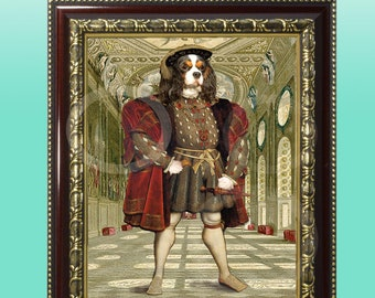 FRAMED Cavalier King Charles Spaniel TriColor King Giclee 8 x 10 Print Whimsical Wall Art Anthropomorphic Anthro Dog Animal Wearing Clothes
