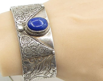 925 silver - antique bezel set lapis lazuli handchased birds cuff bracelet b1110