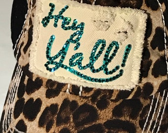 Leopard with Teal Swarovski Crystals Baseball Cap