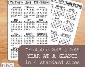 2018 2019 PRINTABLE Calendar, Year At A Glance, Planner Bullet Journal Kit, Planner Inserts, 2018-2019 Planner, Handwritten, 4 sizes, BuJo