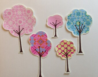 5 Piece Fabric Iron On Applique Tree Set