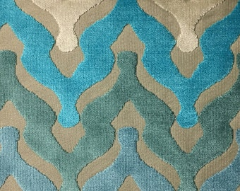 Upholstery Fabric - Leicester - Peacock - Cut Velvet Home Decor Upholstery, Drapery, & Pillow Fabric by the Yard - Available in 13 Colors