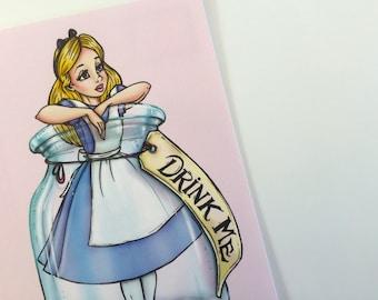 Drink Me - Mini Alice in a Bottle - Alice in Wonderland Postcard