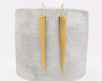 Gold Spike Earrings - Gold Earring - Long Triangle Earrings - Dangle Earrings
